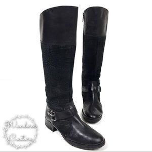 Joan & David Reptile Embossed Leather Riding Boots